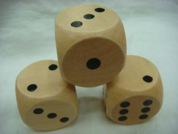 Natural color wooden dice wiith pips