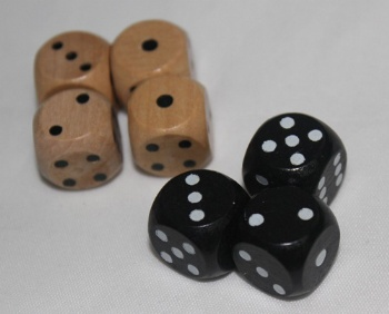 painted wooden dice wiith pips
