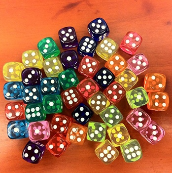 Transparent dice with pips